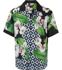 dolce & gabbana orchid-print hawaii shirt - green