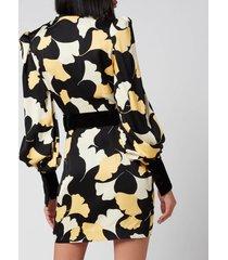 de la vali women's rianna dress - black art deco floral - uk 10