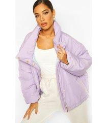 oversized gewatteerde jas, lilac