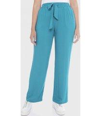 pantalón con elástico en cintura y amarras turquesa curvi