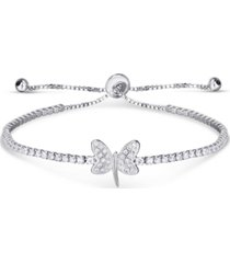 cubic zirconia dragonfly adjustable slider bolo bracelet in fine silver plate