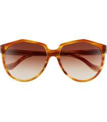 women's loewe 59mm cat eye sunglasses - blonde havana/ gradient brown