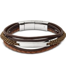 fossil designer men's bracelets, vintage casual dark brown multi-strand men's bracelet