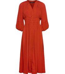 cora pleated dress knälång klänning röd french connection