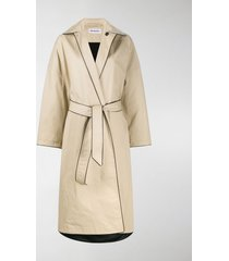 balenciaga cocoon belted cotton coat