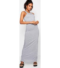 basic racer front maxi dress, grey marl