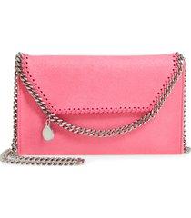 stella mccartney mini falabella shaggy dear faux leather crossbody bag - pink