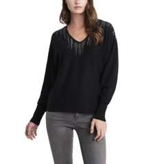 women's embellished v-neck dolman sleeve sweater