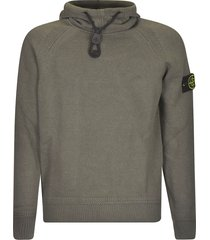 stone island drawstring hood logo patched sweater