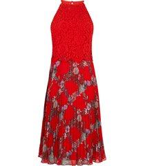kanten geplooide midi-jurk