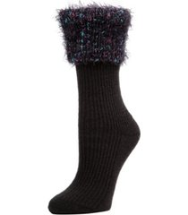 mini rib fancy cuffed women's crew socks