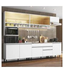cozinha completa madesa verona com armário e balcão (sem tampo, pia e rodapé) branco branco