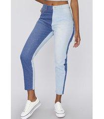 jeans mom bicolor i azul corona