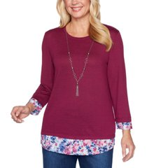 alfred dunner petite autumn harvest layered-look top