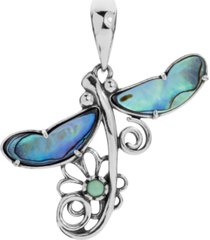 american west abalone dragonfly pendant enhancer in sterling silver