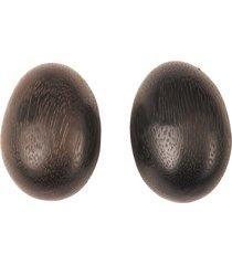 natori acacia wood teardrop clip earrings, women's