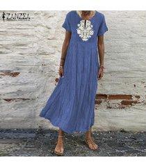 vestido largo con cuello redondo zanzea para mujer- azul