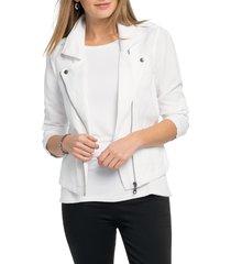 women's nic+zoe linen blend biker jacket, size xx-large - white