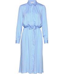 blaze ls midi shirt dress knälång klänning blå soft rebels