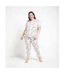 conjunto de pijama viscolycra estampado estrela blusa manga curta e calça curve e plus size cinza