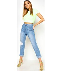 distressed straight leg high rise jeans, mid blue