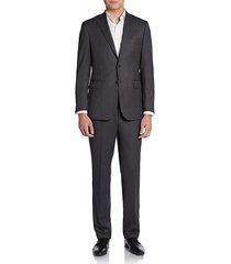 slim-fit crowsfoot wool suit