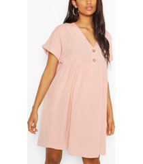 maternity button front linen smock dress, pastel pink