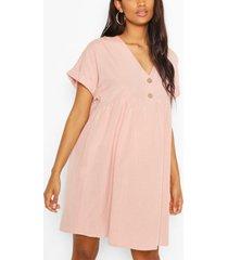 zwangerschaps linnen gesmokte jurk met knopen, pastel pink