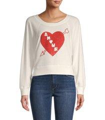 chaser women's heart graphic cropped sweatshirt - cream - size m