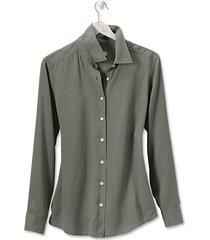 long-sleeved everyday silk shirt, juniper, large