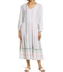 women's caslon long sleeve tiered midi dress, size medium - pink
