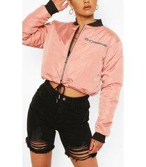 cropped zip detail drawstring bomber jacket, rose
