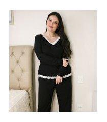 blusa de pijama com decote v e detalhes em renda curve & plus size | ashua curve e plus size | preto | gg