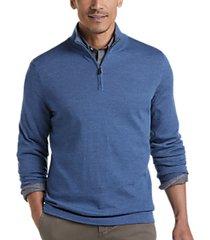 joseph abboud medium blue 37.5® technology 1/4 zip mock neck modern fit sweater