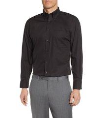 men's big & tall nordstrom classic fit non-iron dress shirt, size 19.5 - 36/37 - black
