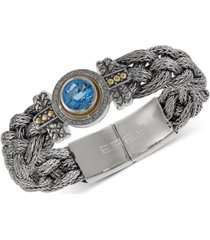 balissima by effy blue topaz (4 ct. t.w.) and diamond (1/5 ct. t.w.) braided bracelet in sterling silver & 18k gold