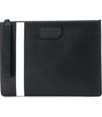 bally bhaldenof striped clutch bag - black