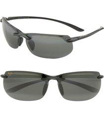 maui jim banyans polarizedplus(r)2 67mm rectangle sunglasses in gloss black /neutral grey at nordstrom