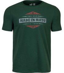 camiseta estampada made in mato verde multicolorido