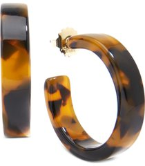 "zenzii gold-tone acetate tortoise shell-look medium 1-1/2"" medium hoop earrings"