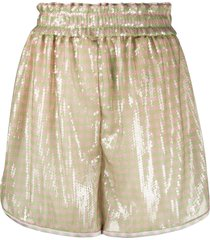 fendi sequin embroidered striped shorts - green