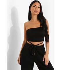petite basic long line bandeau top, black