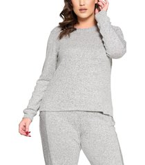 curvyture crewneck brushed hacci pullover, size 1x in salt and pepper at nordstrom