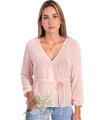 blusa cruzada manga larga con cinta flashy
