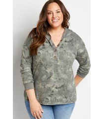 maurices plus size womens camo button front pullover hoodie green