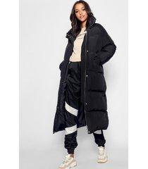 tall lange gewatteerde jas, zwart