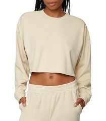 weworewhat women's cropped crewneck sweatshirt - khaki - size l