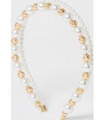 river island womens white pearl and bead double headband