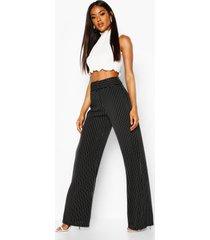 crêpe stretch broek met wijde pijpen, riem en krijtstrepen, zwart