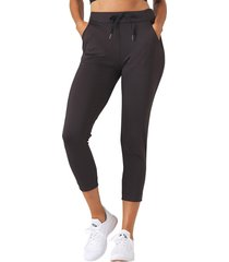 glyder women's jet set crop jogger pants - black - medium spandex